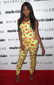 Normani Kordei finished off her top with matching raspberry-print pants.