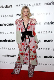 Jaime King looked flamboyant in a ruffle-shouldered floral kimono robe by Johanna Ortiz at the Marie Claire Fresh Faces celebration.