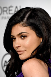 Kylie Jenner played down her famous kissers with some nude lipstick when she attended Marie Claire's Image Maker Awards.