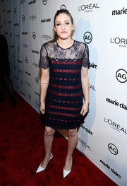 Carly Chaikin chose a blue and red lace-panel embroidered dress by Sandro for Marie Claire's Image Maker Awards.
