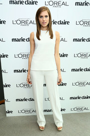 Allison Williams was all about simplicity in her all-white Calvin Klein slacks and top combo at the Marie Claire Power Women Lunch.