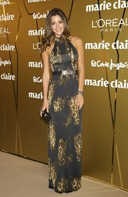 Malena Costa emphasized her sexy shoulders in a leopard-print dress at Marie Claire's Prix de la Moda Awards 2011.