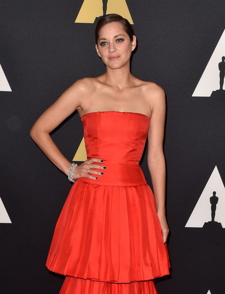Marion Cotillard Diamond Bracelet [clothing,dress,red,strapless dress,fashion model,cocktail dress,fashion,a-line,carpet,gown,marion cotillard,hollywood highland center,california,the ray dolby ballroom,academy of motion picture arts and sciences,governors awards]