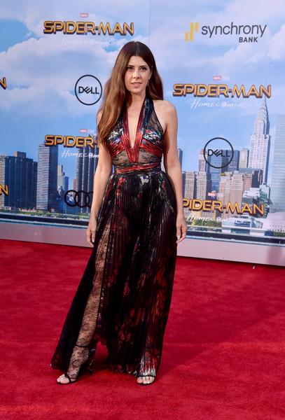 Marisa Tomei Halter Dress [spider-man: homecoming - arrivals,spider-man: homecoming,red carpet,carpet,clothing,premiere,dress,flooring,red,fashion,long hair,event,marisa tomei,california,hollywood,tcl chinese theatre,columbia pictures,premiere,premiere]