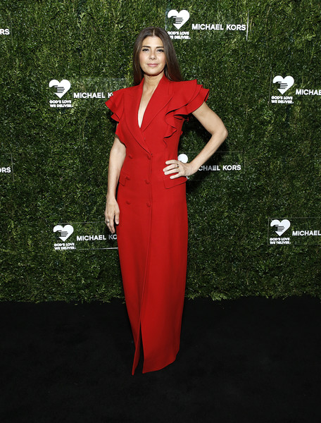 Marisa Tomei Tuxedo Dress [clothing,dress,red,formal wear,carpet,red carpet,flooring,fashion model,cocktail dress,gown,god,marisa tomei,love,golden heart awards,new york city,cipriani south street,golden heart awards celebration,celebration]