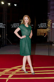 Jessica Chastain was a vision in green at the Marrackech film festival. The starlet topped off her look with metallic platform pumps.