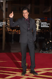 Shahrukh Khan's metal-cap shoes were an edgy complement to his tux at the Marrakech International Film Festival.