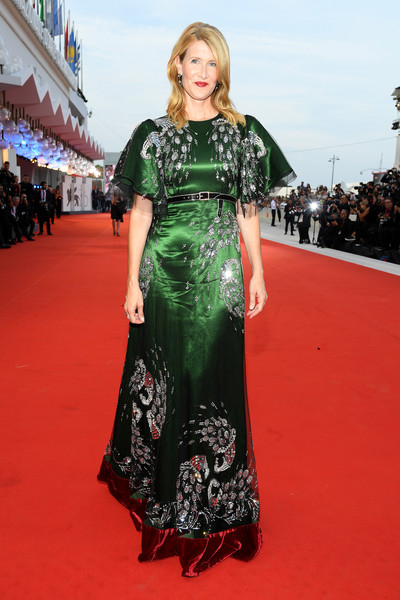 Laura Dern looked supremely elegant in a beaded emerald-green gown by Gucci at the Venice Film Festival screening of 'Marriage Story.'