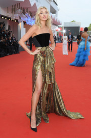 Elsa Hosk donned a strapless black and gold gown by Etro for the Venice Film Festival screening of 'Marriage Story.'