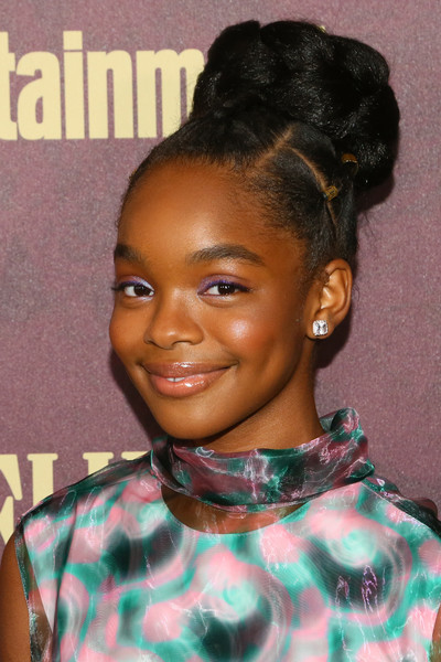 Marsai Martin Braided Bun [hair,face,hairstyle,eyebrow,black hair,forehead,head,beauty,lip,long hair,arrivals,marsai martin,sunset tower hotel,west hollywood,california,entertainment weekly,entertainment weekly pre-emmy party]