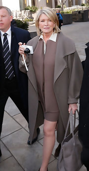 Martha Stewart looked polished and sophisticated in NYC in this brown wool coat.