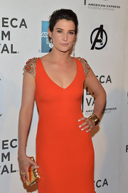 Cobie Smulders completed her look at 'The Avengers' premiere with an 18-carat gold gladiator cuff.
