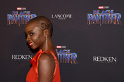 Danai Gurira attended the Black Panther: Welcome to Wakanda event sporting her signature patterned buzzcut.