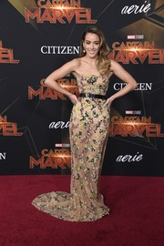 Chloe Bennet worked a sheer strapless gown by Galia Lahav at the premiere of 'Captain Marvel.'