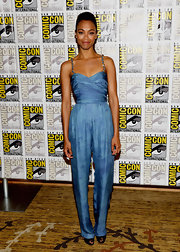 Zoe Saldana lengthened her already slender frame with this pale blue ruched bodice jumpsuit.