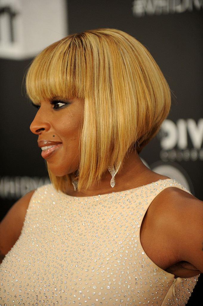 Mary J Blige Inverted Bob Short Hairstyles Lookbook