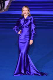 Emily Blunt looked stunning in an electric-blue mermaid gown by Schiaparelli Couture at the European premiere of 'Mary Poppins Returns.'