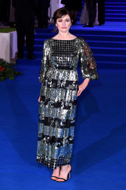 Emily Mortimer paired her dress with barely-there black sandals.