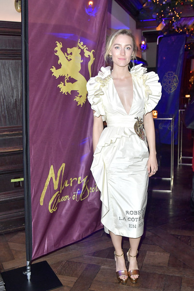More Pics of Saoirse Ronan Cocktail Dress (1 of 20) - Dresses & Skirts Lookbook - StyleBistro [white,clothing,fashion,fashion model,purple,lady,shoulder,dress,haute couture,fashion design,saoirse ronan,mary queen of scots,new york,paris theater,party,premiere,premiere]