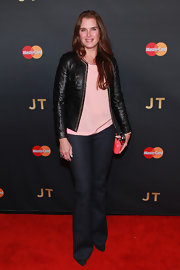 Brooke Shields was casual in bootcut jeans and a leather jacket during Justin Timberlake's concert.