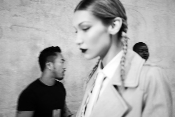 More Pics of Bella Hadid Button Down Shirt (1 of 11) - Bella Hadid Lookbook - StyleBistro [image,white,photograph,black-and-white,monochrome photography,snapshot,hairstyle,monochrome,forehead,photography,human,max mara - backstage,bella hadid,milan,italy,max mara,milan fashion week,fashion show,milan fashion week spring]