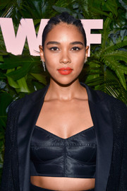 Alexandra Shipp looked sultry wearing this black bra and suit combo at the Max Mara WIF Face of the Future event.