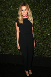 Ashley Tisdale was casual-chic at the Max Mara Face of the Future event in a black jumpsuit with ruffles cascading from one shoulder.