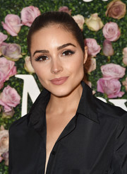 Olivia Culpo styled her hair into a sleek ponytail for the 2017 Face of the Future event.