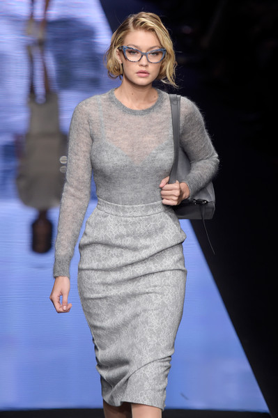 More Pics of Gigi Hadid Tassel Loafers (1 of 10) - Loafers Lookbook - StyleBistro [fashion model,fashion,fashion show,clothing,dress,runway,cocktail dress,hairstyle,fashion design,neck,gigi hadid,close-ups,mfw fw2015,runway,milan,italy,max mara,milan fashion week autumn,show]