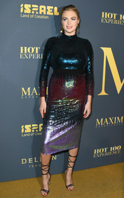 Kate Upton glammed up her baby bump in a multicolored sequined dress by Temperley London for the Maxim Hot 100 Experience.