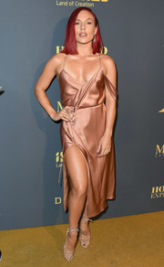 Sharna Burgess styled her dress with nude ankle-tie sandals.