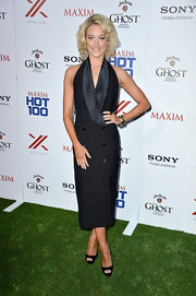 Peta chose this sleeveless tuxedo dress for her look at the Maxim Hot 100 party.