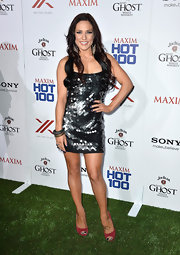 Sharna rocked a gunmetal sequined-disc dress for her look at the Maxim Hot 100 Party.