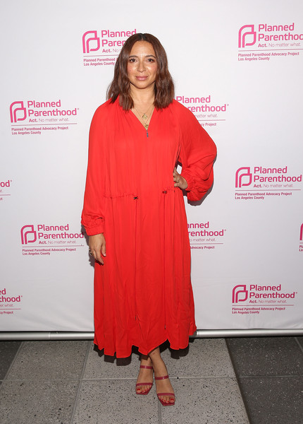 Maya Rudolph Midi Dress [clothing,red,pink,premiere,dress,carpet,magenta,red carpet,fashion design,formal wear,maya rudolph,politics,sex,cocktails,california,los angeles,planned parenthood advocacy project la county,fundraiser]