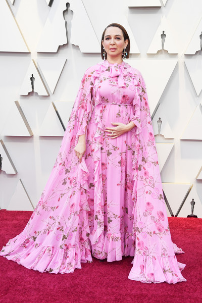 Maya Rudolph Print Dress [clothing,pink,dress,fashion,carpet,red carpet,haute couture,flooring,fashion model,gown,arrivals,maya rudolph,academy awards,hollywood,highland,california,annual academy awards]
