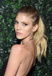 Devon Windsor was youthful and punky wearing this partially braided ponytail at the Maybelline NYFW welcome party.
