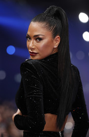 Nicole Scherzinger rocked a tight, high ponytail at the Maybelline New York show.