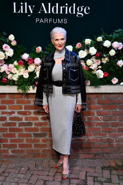 Maye Musk Leather Jacket [photo,clothing,white,fashion,street fashion,lady,fur,footwear,dress,jacket,spring,maye musk,lily aldridge,the bowery terrace,new york city,bowery hotel,lily aldridge parfums launch event,launch event]
