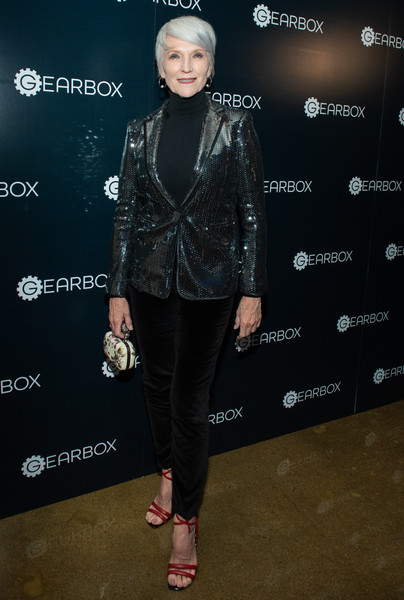 Maye Musk Corduroy [clothing,fashion,footwear,outerwear,leather,jacket,event,fashion show,fashion design,textile,maye musk,gearbox la,los angeles,california,grand opening,opening]
