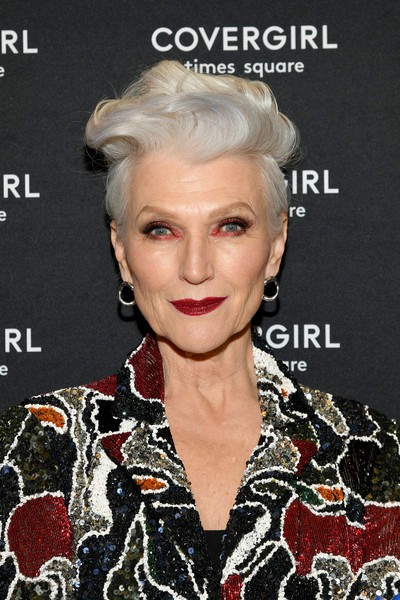 Maye Musk Fauxhawk [hair,beauty,blond,human hair color,hairstyle,eyebrow,fashion model,forehead,fashion,long hair,covergirl opens the doors to their first flagship store,experiential makeup playground in the heart of new york city,new york city,maye musk]