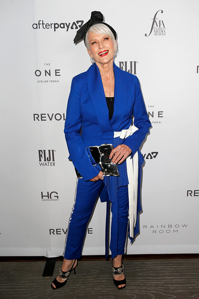 Maye Musk Pantsuit [clothing,blue,fashion,cobalt blue,electric blue,pantsuit,hairstyle,fashion design,outerwear,footwear,maye musk,2019 fashion media awards,new york city,the rainbow room,daily front row,the daily front row]