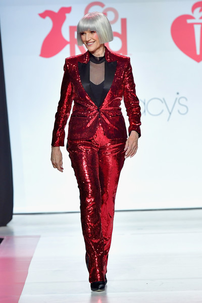 Maye Musk Pantsuit [fashion model,fashion,runway,fashion show,clothing,red,haute couture,event,fashion design,transparent material,maye musk,runway,stage,hammerstein ballroom,new york city,american heart associations go red for women red dress collection,macys,american heart associations go red for women red dress collection 2018]