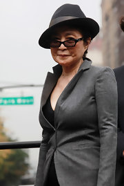 Yoko Ono wore a tilted fedora hat during the announcement of the screening of 'LENNONYC.'