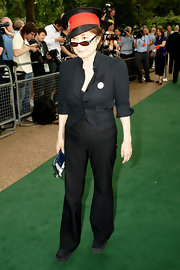 Yoko Ono opted for a slightly flared pair of slacks as she attended the Meat Free Monday Launch.