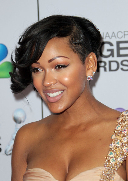 Meagan Good Short Curls [hair,hairstyle,shoulder,eyebrow,black hair,chin,beauty,lip,long hair,eyelash,arrivals,meagan good,the shrine auditorium,los angeles,california,naacp image awards]