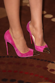 Blake added some pizazz to her red carpet look when she wore these hot pink pumps with gold studded toes.