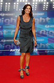 Cristina Parodi wore a gorgeous scoop-neck gray cocktail dress as she attended Mediaset Nights's Programming Presentation.