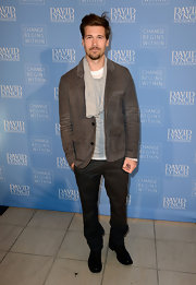 Nick Zano opted for a casual corduroy blazer to pair with a sweater and scarf at the 'Meditation in Education' event.