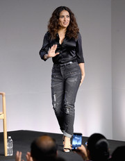 Salma Hayek worked a casual-elegant vibe in a black silk button-down during the Meet the Filmmaker event.