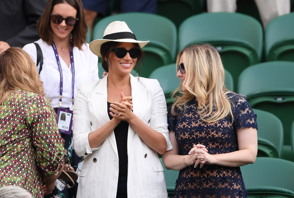 Meghan Markle Panama Hat [singles,eyewear,sunglasses,street fashion,lady,fashion,hat,event,blond,fashion accessory,headgear,ladies,meghan markle,serena williams,sussex,duchess,united states,wimbledon,championships,match]